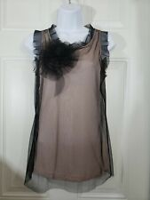 The Limited Black Lace Over Nude Tank Top Lace Flower Size Small S