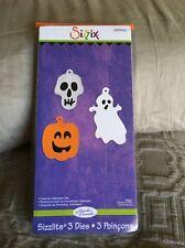 Sizzix 3pk Halloween Die Set NEW $15 Charms Ghost Pumpkin Skull Ellison