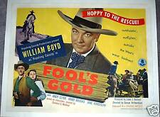 FOOL'S GOLD  '45 -RARE HOPALONG CASSIDY POSTER ON LINEN
