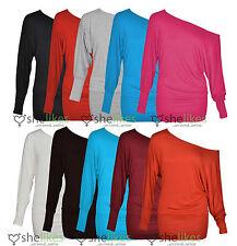 Womens One Shoulder Top Ladies Batwing Off Shoulder Long Sleeve Top 16 18 20 22