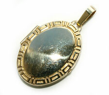 Classic Hallmarked 9ct Yellow Gold Greek Key Style Oval Locket-BOXED
