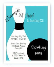 12 Personalized Custom Bowling Birthday Party Invitations