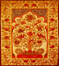 Orange Rouge Arbre de Vie Temple King Size dessus Lit Jeté Tenture Murale