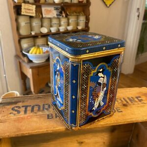 Vintage Blue & Gold Oriental Style Tea Caddy / Storage Tin – Great!