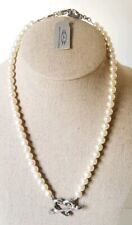 Rare Deborah Armstrong & Company Pearl & Sterling Cupid Heart Necklace