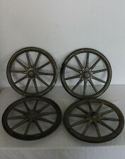 """4 Wood Spoke Baby Buggy Wheels Kroll Kab Wicker Baby Stroller Carriage 13"""" Diam"""