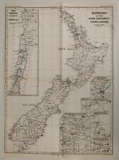 New Zealand by itself w/ insets 1878 Petermann's large scarce map hand color