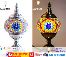 Turkish Lamps Moroccan Glass Mosaic Light Handmade Brass Plated Stand LED