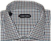 $730 NWT TOM FORD GREEN WHITE BURGUNDY BR CHECK HAND MADE DRESS SHIRT EU 44 17.5