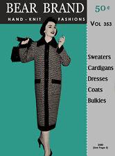 Bear Brand #353 c.1956 - Fifties Era Hand Knitting Fashion Fatterns for Women