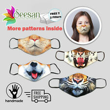 Animals Face Mask- Washable Triple Layered Filter Included