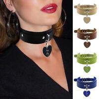 Leather Heart Choker Collar Punk Goth Adjustable Rivet Necklace Love Pendant HOT