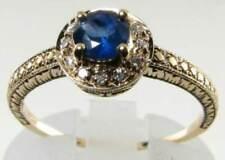 DIVINE 9K 9CT GOLD BLUE SAPPHIRE & DIAMOND HALO ART DECO INS RING SIZE Q