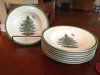 SPODE Christmas Tree Rimmed Soup Bowl 9 inch Lot of 4