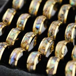 Wholesale 20pcs Men Women 8mm Stainless Steel Abalone Shell Ring Rings