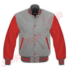 Varsity Letterman Gray Wool Jacket with Red Leather Sleeves