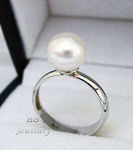 HS Rare South Sea Cultured Pearl 9.76mm Ring 925 Sterling Silver Top Grade NR!