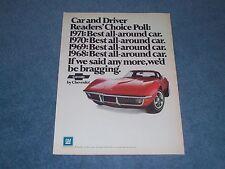 "1971 Corvette Coupe Vintage Ad ""Best All-Around Car"""