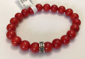 King Baby Studio Men's 10mm Red Coral Beads & Sterling Silver Bracelet NWT $165
