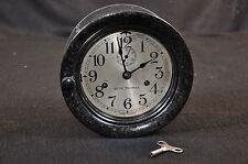 WW2 U.S. Navy USN Eight 8 Day Clock 'Seth Thomas' Bakelite Door w/ Cork; Working