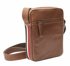 Texan Men's Cognac Brown Soft Leather Small Shoulder Flight Bag Crossbody  NEW