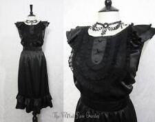 Gothic Victorian Black Silk Ruffled Lace Bib Tea Dress 14 Vintage Dark Romance