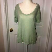 H & M Womens Linen Mint Green V Neck Short Sleeve Top Sz L