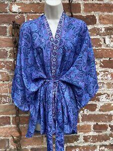 Ladies hippie/boho/alternative Short Kaftan Kimono Dressing Gown free size