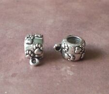15 Paw Kitty Cat Puppy Dog Foortprint Bail Bails Connector European Spacer Beads