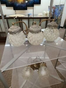 Vintage 1969 L & L WMC brass & silver light fixture heavy textured glass globes