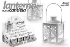 LANTERNA TEALIGHT PORTA CANDELA BIANCA CUORE PORTACANDELA 10*20 CM ACA-721427