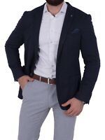 Herren Jersey Sakko Bruno Banani Slim-Fit Einknopf Jackett Freizeit blau muster