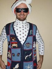 S Small UGLY TACKY Christmas Holiday Party Sweater Vest Knit Bears! Mens Womens
