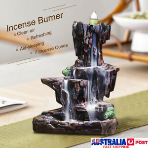 Ceramic Mountain Waterfall Smoke Backflow Incense Burner  Holder + 7  AS A3
