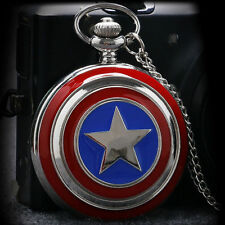 Captain America Avengers Shield Necklace Chain Quartz Pocket Watch New Cool Gift
