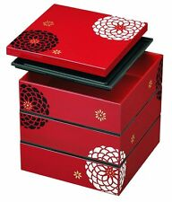 HAKOYA Lunch Bento Box 54502 Red Hyakka Momoka Flower Square MADE IN JAPAN