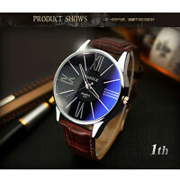 Waterproof Business Men's Leather Stainless Steel Dial Analog Quartz Wrist Watch