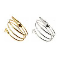 Fashion gewickelt Schlange spiralfoermig Oberarm Stulpe Armband Armreif Gold N5C