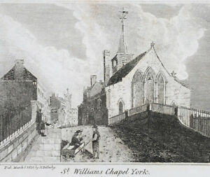 St Williams Chapel York, Antique Miniature Engraving 1828 Bellerby