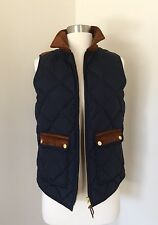 $128 JCrew Women Excursion Quilted Vest with corduroy trim F4646 navy XS