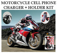 Motorcycle USB CHARGER + CELL PHONE HOLDER KIT Universal
