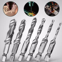 M6 1/4inch Hex Shank HSS Metric Hand Screw Thread Tap Taper Drill Bit Tool