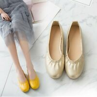 Women's Casual Soft Comfort Ballet Flat Low Heels Round Toe Shoes Slip On New