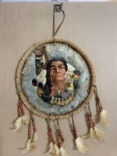 Vintage Native American Indian Large Dream Catcher Fur Wool Feathers