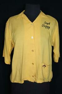 "VINTAGE 1960'S ""PEGGY"" RAYON GABARDINE YELLOW BOWLING BLOUSE SIZE 34"
