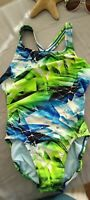 Women's NIKE Sz 32/6 Green Blue Black onepiece Athletic Swimsuit fully lined