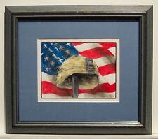 Military Memorial by Bill Crowley original watercolor + ink FREE brass plaque