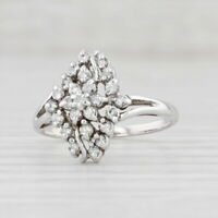 0.45ctw Diamond Flower Ring 10k White Gold Size 7.25 Floral Halo Cluster