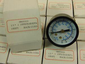 "(1) 1/8"" NPT AIR PRESSURE GAUGE 0-15 PSI BACK MT 1.5"" FACE 98601410 BAR KPA"