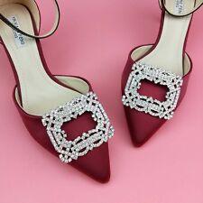 2 pcs pair Bridal high heel rectangle Repair rhinestone Shoe Charm Clip SB04